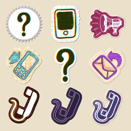 communication icons: Communication icons set. Hand drawn and isolated. Stickers