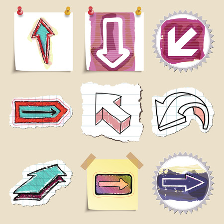 social movement: Arrows web icons set. Hand drawn and isolated. Stickers