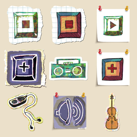 walkman: Hand drawn music emblems set. Isolated. Stickers