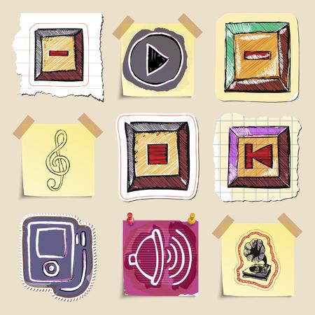 walkman: Hand drawn music emblems set. Isolated. Stickers