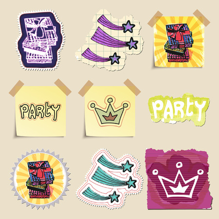 celebration party: Hand drawn party and celebration emblems set. Isolated. Stickers