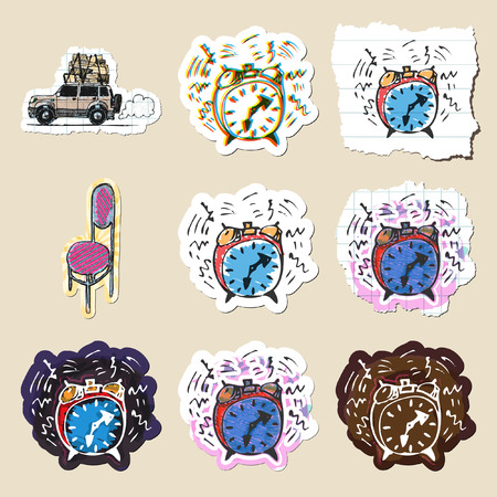 furniture transport: Hand drawn home travel and time emblems set. Isolated. Sticker
