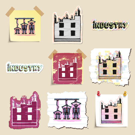 technics: Hand drawn industrial and construction emblems set. Isolated. Stickers Stock Photo
