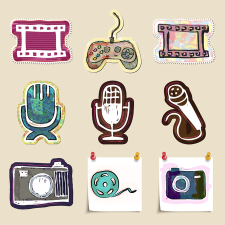 telecast: Hand drawn media and entertainment emblems set. Isolated. Sticker