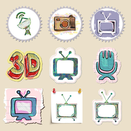 technics: Hand drawn media and entertainment emblems set. Isolated. Sticker