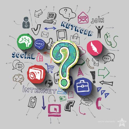 Signo de interrogación y collage con iconos de web de fondo. Ilustración vectorial Foto de archivo - 46662371