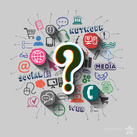 web marketing: Question mark and collage with web icons background. Vector illustration Illustration