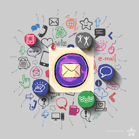 web icons: Envelope and collage with web icons background