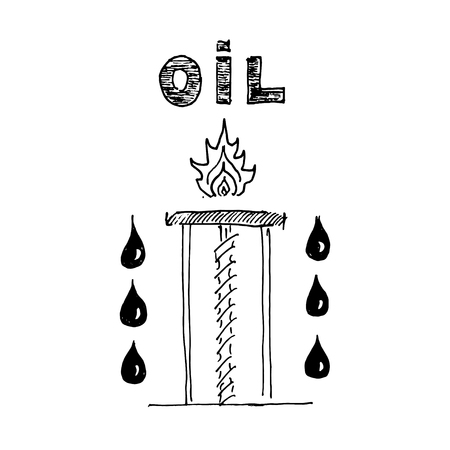 extraction: Extraction of petroleum. Vector illustration isolated on white background