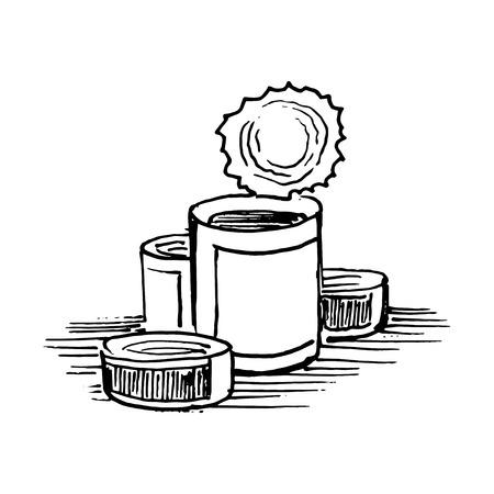 缶詰。白い背景で隔離のベクトル図  イラスト・ベクター素材