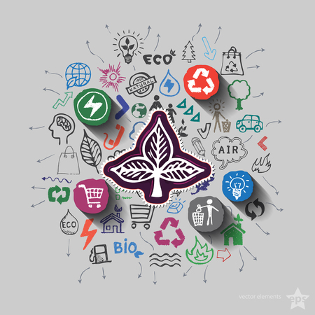 energy icon: Ecology emblem. Environment collage with icons background. Vector illustration Illustration