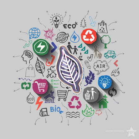ecology emblem: Ecology emblem. Environment collage with icons background. Vector illustration Illustration
