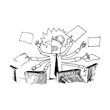 hand work: Stressed manager. Vector illustration isolated on white background