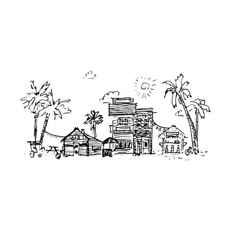 port of spain: Resort town. Vector illustration isolated on white background Illustration