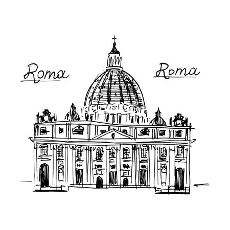 basilica: Rome architecture. Vector illustration isolated on white background