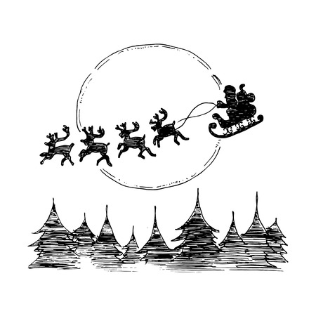santa sleigh: Santa on Sleigh and His Reindeers. Vector illustration isolated on white background