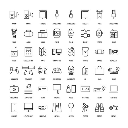 monoblock: Electronics simple icons set