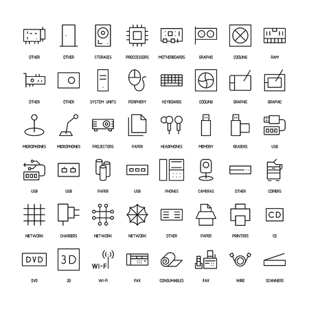 power supply unit: Computers simple icons set Illustration