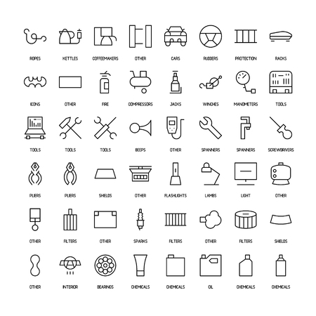 electrics: Products for cars simple icons set