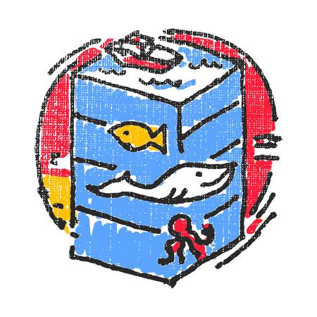 oceanography: Oceanography emblem. Textured stamp. Vector illustration