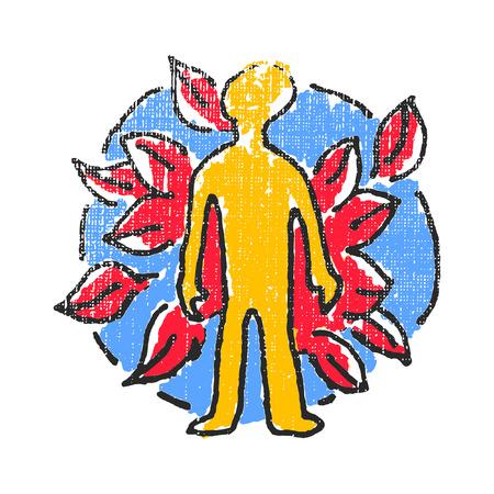 Eco menschliche Emblem. Strukturierter stamp. Vektor-Illustration