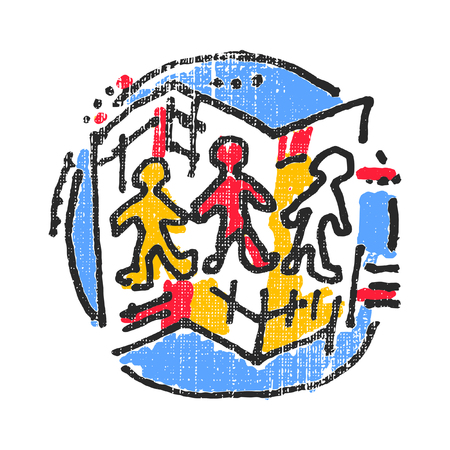 immigrate: Anthropology and geography emblem. Textured stamp. Vector illustration