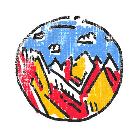 slopes: Mountains landscape emblem. Textured stamp. Vector illustration Illustration