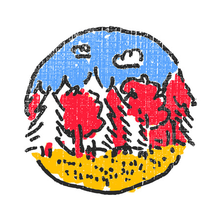 Woods scenery emblem. Textured stamp. Vector illustration