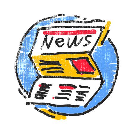Newspaper emblem. Textured stamp. Vector illustration Illustration