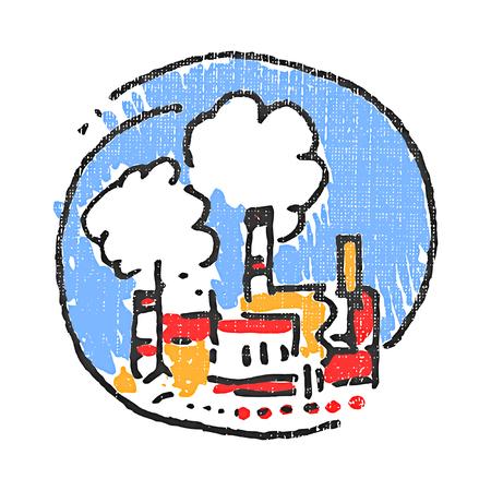 Factory emblem. Textured stamp. Vector illustration
