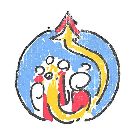 Social reforms emblem. Textured stamp. Vector illustration