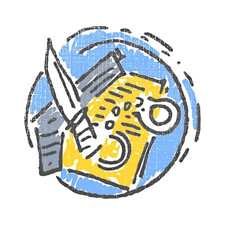 criminal: Criminal emblem. Textured stamp. Vector illustration