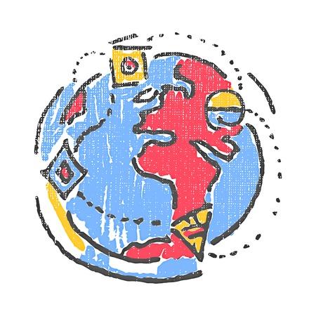 International relationships emblem. Textured stamp. Vector illustration