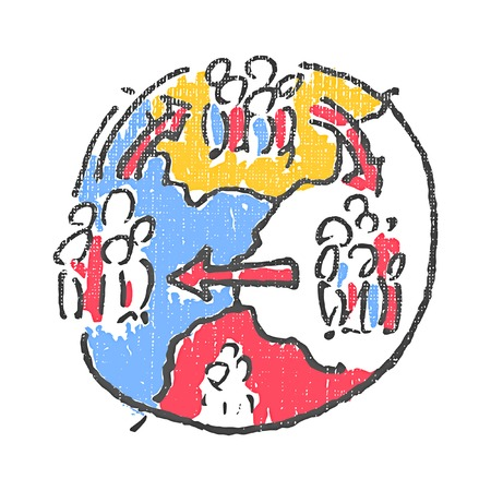 migration: International migration emblem. Textured stamp. Vector illustration Illustration