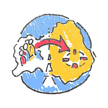 immigrate: International migration emblem. Textured stamp. Vector illustration Illustration