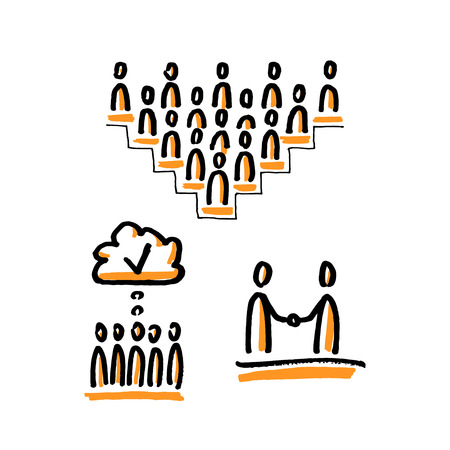 Business community. Stick figures. Hand drawn vector illustration isolated on white.