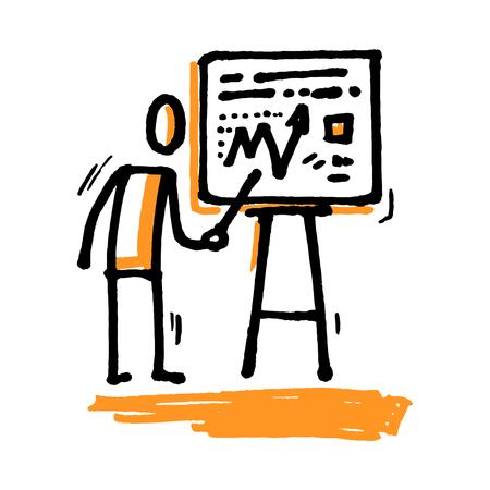 hombres ejecutivos: Stick hombre dando una presentación. Ilustración de vector dibujado a mano aislado en blanco.