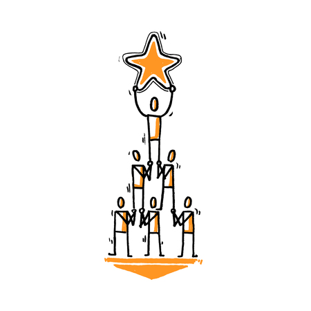 Stick people pyramid with star of good rating. Hand drawn vector illustration isolated on white.