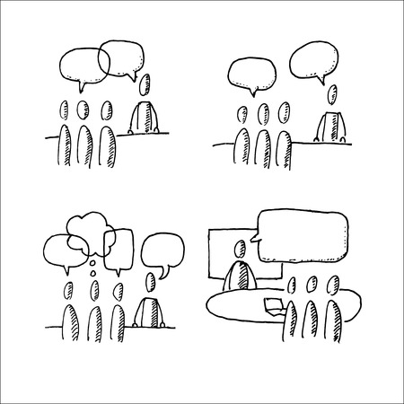 discussion: Business discussion situations. Hand drawn vector illustration isolated on white. Illustration