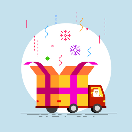 Flat style vector illustration abstract delivery truck with open gift box container, driver Santa, and product item goods shop shipping.