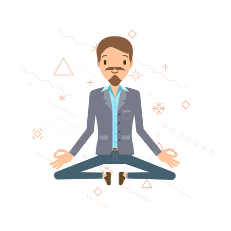 hung: Business man hung in the air, meditating. Businessman sitting in lotus pose. Vector illustration, flat style.