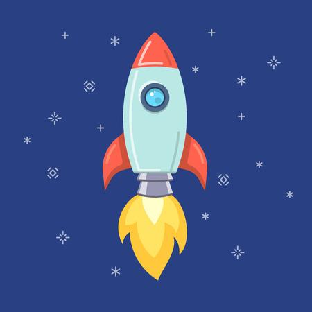 Flat icon style startup rocket vector illustration.
