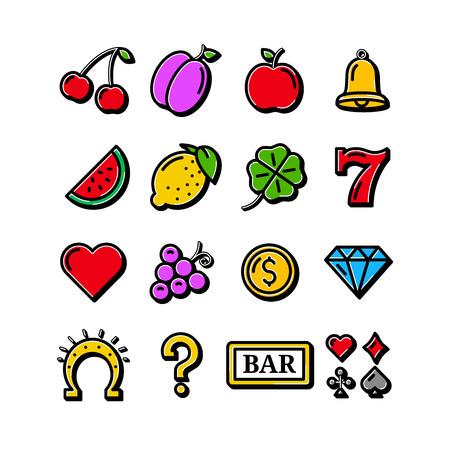 Slot machine icons isolated on white background. Vector illustration. Stock Photo
