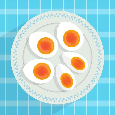 Boiled egg. soft-boiled egg on plate