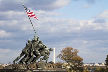 WASH DC - CIRCA  Iwo Jima Memorial circa SEP 2011 in Wash DC, USA  Memorial dedicated to all personnel of United States Marine Corps who have died in defense of their country since 1775