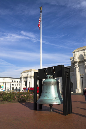 Liberty Bell replica in front of Union Station in Washington D C