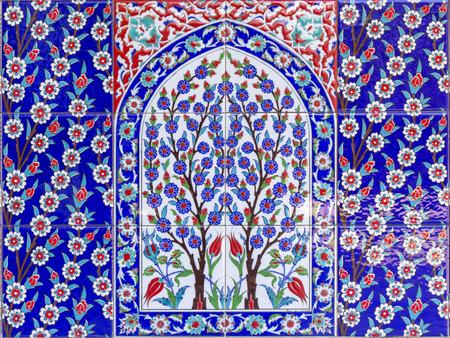 wall tile: Turkish artistic wall tile Stock Photo