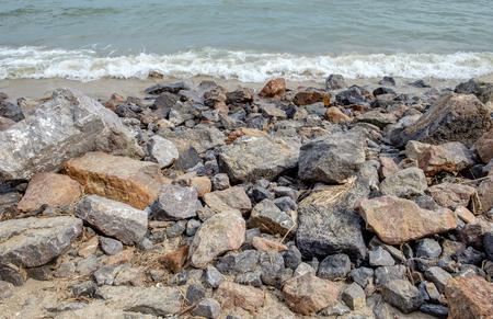 limp: Boundary sea big rock with wave Stock Photo