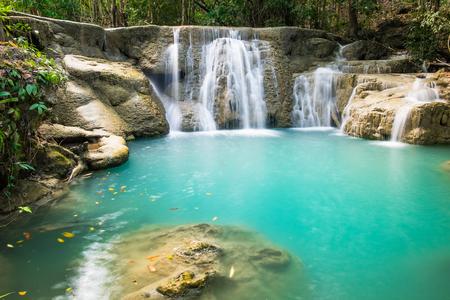 khamin: Waterfall deep forest scenic natural at huai mae khamin national park, kanchanaburi, thailand