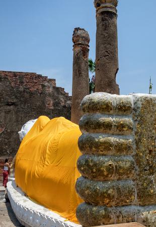 chaimongkol: Large white buddha sleep posture landmark at wat yai chaimongkol,ayutthaya,thailand